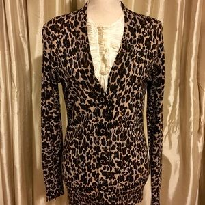 Tory Burch Simone Cardigan in Cafe Leopard
